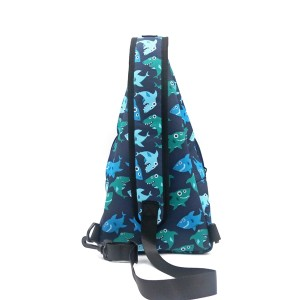Fish Pattern RPET 100% Recycled Material Chest Bag Sport Style Running Bag Portable Cool Fashion messenger bag for unisex