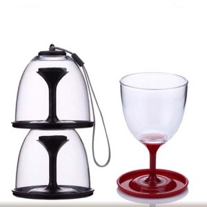 10oz Stackable Wine Tumbler Clear Collapsible Portable Plastic Wine Glass with Carry Webbing Outdoor wine glass