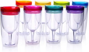 10oz BPA Free Portable Wine Glass,double wall wine cup with drink-through lid, Double Wall Insulated plastic Wine Glass Tumbler