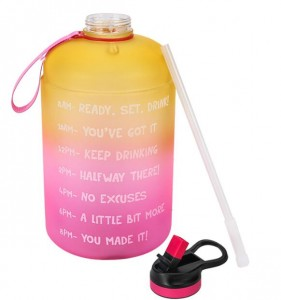 Custom Logo Plastic Motivational Gallon Bottle 3.78L Water Bottle 128oz Bottles