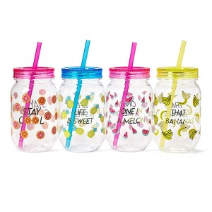 Charmlite Recyclable Plastic Mason Cocktail Cup, Shatterproof and BPA-free Drinking Jar