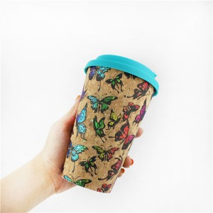 Charmlite 2020 NEW Natural Cork Coffee Mug with Lid Reusable and Biodegradable Material 16oz
