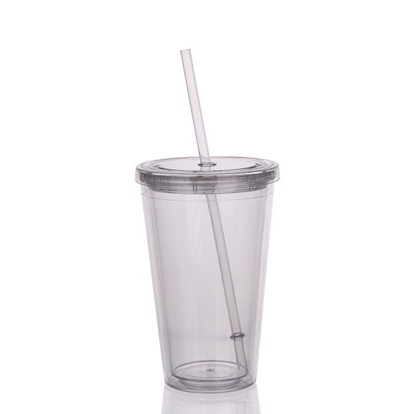 Charmlite Insulated Double Wall Tumbler Cup with Lid & Reusable Straw – 16 oz – clear Featured Image