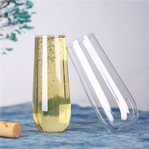 Charmlite Clear Reusable Stemless Champagne Flute Champagne Glass For Wedding – 10 oz