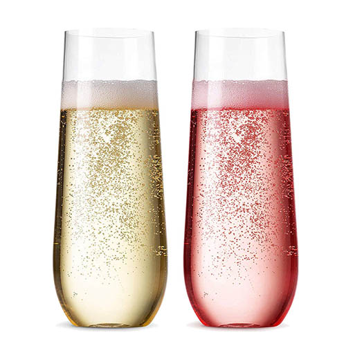 Charmlite Clear Reusable Stemless Champagne Flute Champagne Glass For Wedding – 10 oz Featured Image
