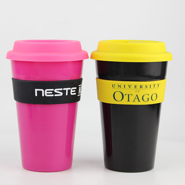 Charmlite Plastic Coffee Mug with Screw Lid and Silicone Band Reusable Style 16oz Featured Image