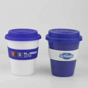 Charmlite Plastic Coffee Mug with Screw Lid and Silicone Band Reusable Style 16oz