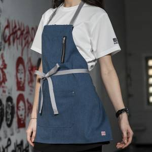 Blue Color Canvas Chef Bib Apron With Three Pockets CU335S048022U4