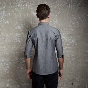 Gray Polyester Cotton Classic Half Sleeve Slim Fit waiter uniform Shirt CM1102Z059000T4