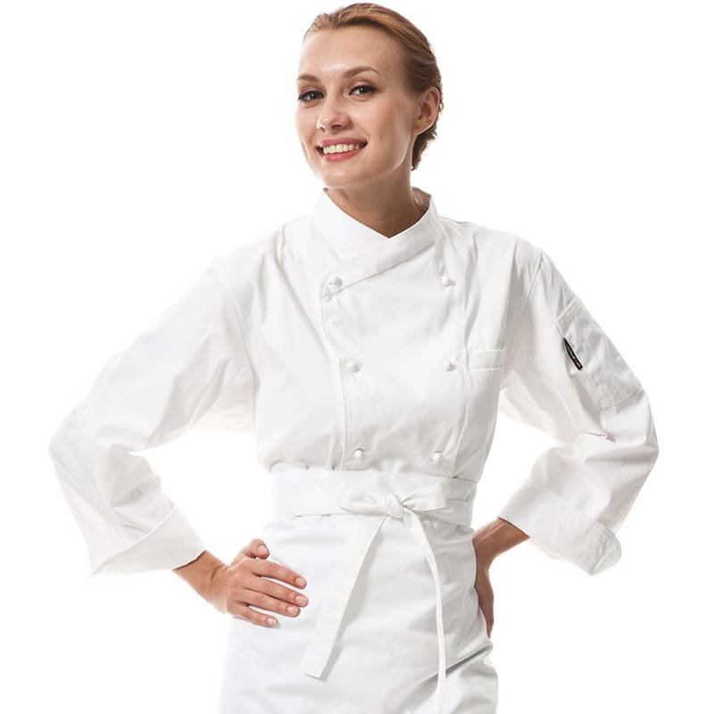 Double Breasted Cross Collar Long Sleeve Chef Uniform And Chef Jacket For Hotel And Restaurant CU102C0200C Featured Image