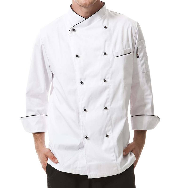 Double Breasted Cross Collar Long Sleeve Chef Uniform And Chef Jacket For Hotel And Restaurant CU102C0201C Featured Image