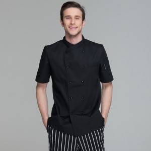 Double Breasted Cross Collar Short Sleeve Chef Uniform Anc Chef Jacekt For Restaurant And Hotel CU102D0100F