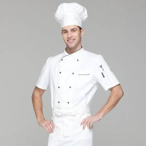 Double Breasted Cross Collar Short Sleeve Chef Uniform And Chef Jacket For Hotel And Restaurant CU102D0201C