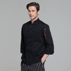 Classic Fashion Double Breasted Long Sleeve Chef Coat And Chef Uniform With Stand Collar For Restaurant And Hotel CU104C0104A