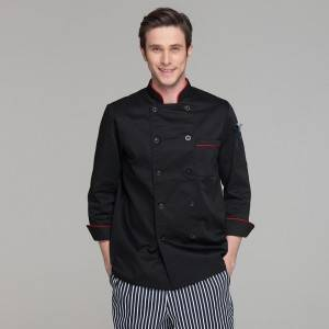 Classic Fashion Double Breasted Long Sleeve Chef Coat And Chef Uniform With Stand Collar For Restaurant And Hotel CU104C0106A