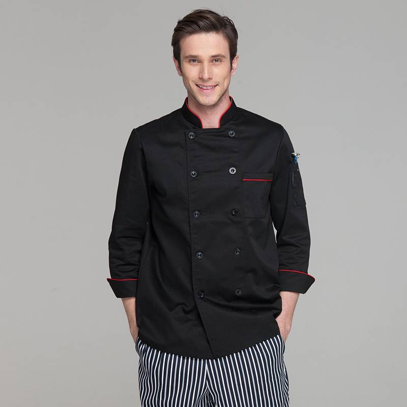 Classic Fashion Double Breasted Long Sleeve Chef Coat And Chef Uniform With Stand Collar For Restaurant And Hotel CU104C0106A Featured Image
