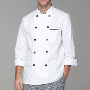 Classic Fashion Double Breasted Long Sleeve Chef Coat And Chef Uniform With Stand Collar For Restaurant And Hotel CU104C0201A