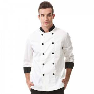 Classic Double Breasted Contrast Color Long Sleeve Chef Jacket And Chef Uniform For Hotel And Restaurant CU104C0281A