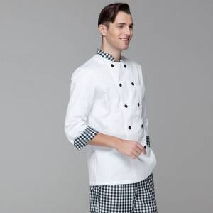 Classic Double Breasted Contrast Color Long Sleeve Chef Jacket And Chef Uniform For Hotel And Restaurant CU104C0283A