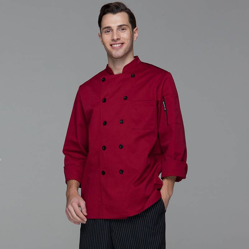 Classic Double Breasted Contrast Color Long Sleeve Chef Jacket And Chef Uniform For Hotel And Restaurant CU104C0401A1 Featured Image