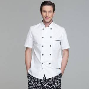 Classic Double Breasted Short Sleeve Chef Coat For Restaurant And Hotel CU104D0201E