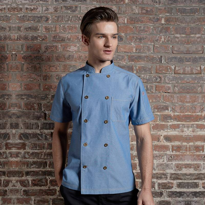 Classic Double Breasted Short Sleeve Chef Coat For Hotel And Restaurant CU104D115000T-2 Featured Image