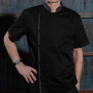 Classic Single Breasted Match Color Short Sleeve Chef Jacket For Hotel And Restaurant U108D0105A
