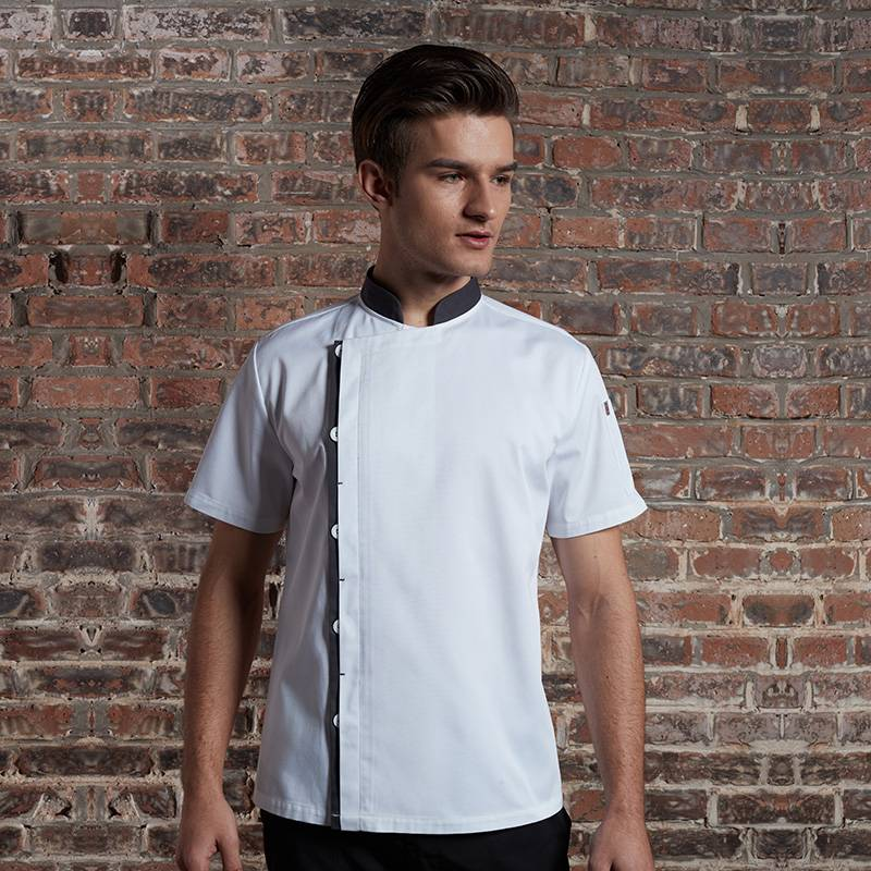 Classic Single Breasted Match Color Short Sleeve Chef Jacket For Hotel And Restaurant U108D0205A Featured Image