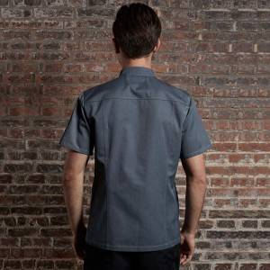 SINGLE BREASTED SHORT SLEEVE HIDDEN PLACKET CROSS COLLAR CHEF COAT FOR HOTEL AND RESTAURANT CU1107D1500A