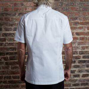 SINGLE BREASTED SHORT SLEEVE HIDDEN PLACKET CROSS COLLAR CHEF COAT FOR HOTEL AND RESTAURANT CU1107D0200A