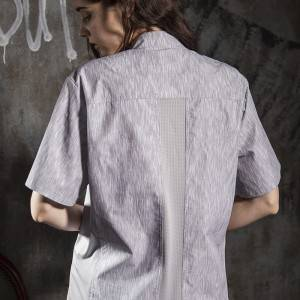 SINGLE BREASTED SHORT SLEEVE HIDDEN PLACKET CROSS COLLAR CHEF COAT FOR HOTEL AND RESTAURANT CU1108D132000AL