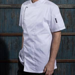 SINGLE BREASTED SHORT SLEEVE HIDDEN PLACKET CROSS COLLAR CHEF COAT FOR HOTEL AND RESTAURANT CU110D0201E
