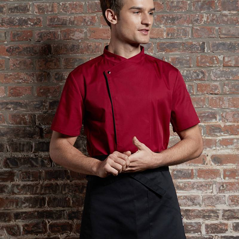 SINGLE BREASTED SHORT SLEEVE HIDDEN PLACKET CROSS COLLAR CHEF COAT FOR HOTEL AND RESTAURANT CU110D0401E Featured Image