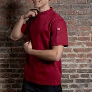 SINGLE BREASTED SHORT SLEEVE HIDDEN PLACKET CROSS COLLAR CHEF COAT FOR HOTEL AND RESTAURANT CU110D0401E