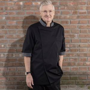 HIDDEN PLACKET CONTRAST COLLAR MEDIUM SLEEVE CHEF JACKET FOR HOTEL AND RESTAURANT CU120Z0159E