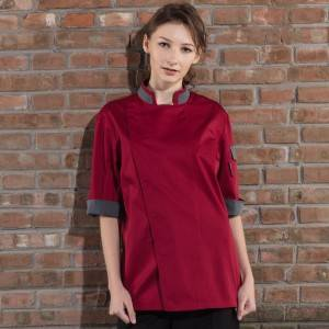 HIDDEN PLACKET CONTRAST COLLAR MEDIUM SLEEVE CHEF JACKET FOR HOTEL AND RESTAURANT CU120Z0459E