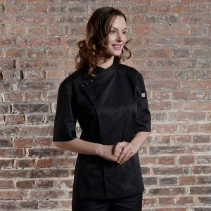 SINGLE BREASTED SHORT SLEEVE HIDDEN PLACKET CROSS COLLAR CHEF COAT FOR HOTEL AND RESTAURANT CU158Z0100E