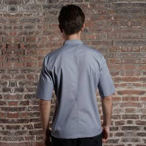 SINGLE BREASTED SHORT SLEEVE HIDDEN PLACKET CROSS COLLAR CHEF COAT FOR HOTEL AND RESTAURANT CU158Z1500E