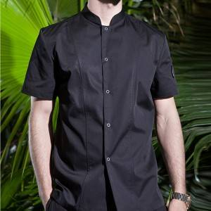 SINGLE BREASTED STAND COLLAR SHORT SLEEVE FASHION DESIGN CHEF JACKET FOR HOTEL AND RESTAURANT CU179D0100E