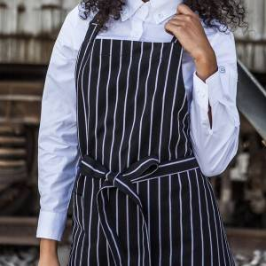 Black White Strips Chef Bib Aprons With One Pocket CU304S8600H