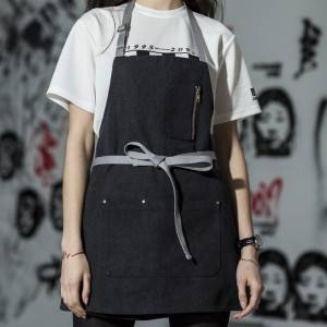 Black Canvas Chef Bib Apron With Three Pockets CU335S001022U4