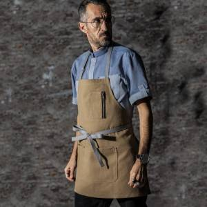 Yellow Color Canvas Chef Bib Apron With Three Pockets CU335S043022U4