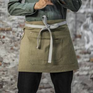 Army Green Color Canvas Waist Chef Apron With Pockets CU378S042022U4