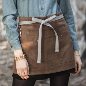 Coffee Color Canvas Waist Chef Apron With Pockets CU378S134022U4