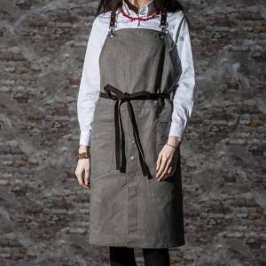 Gray Long Bib Cotton Cross Back Chef Apron CU380S022000U5