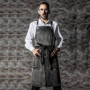 Black Long Bib Cotton Cross Back Chef Apron CU380S129000T