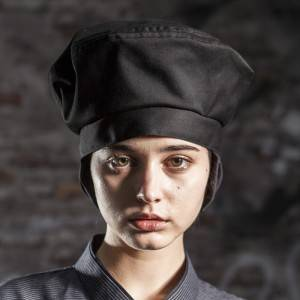 Poly Cotton Black Chef Hat With Hair Pocket CU413S0100A