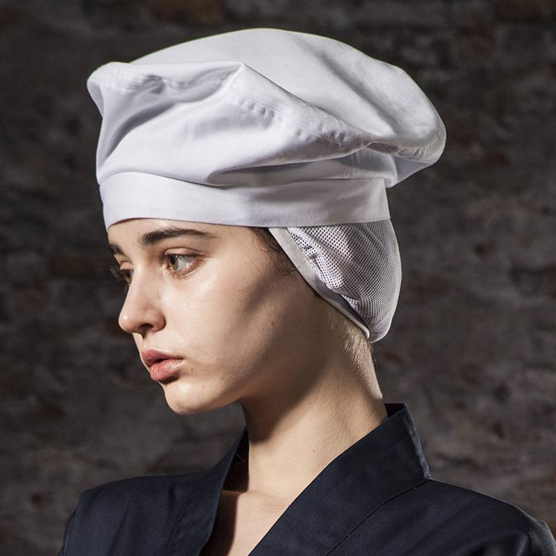 Poly Cotton White Color Chef Hat With Hair Pocket CU413S0200A Featured Image