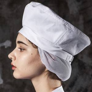 Poly Cotton White Color Chef Hat With Hair Pocket CU413S0200A
