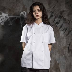 Classic Double Breasted Snap Buttons Short Sleeve Chef Coat And Chef Jacket For Hotel And Restaurant CU104D0200A-1